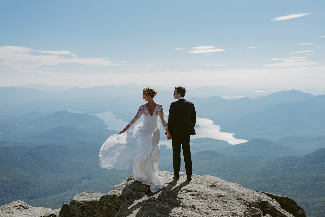 Bride and groom on Whiteface Mountain