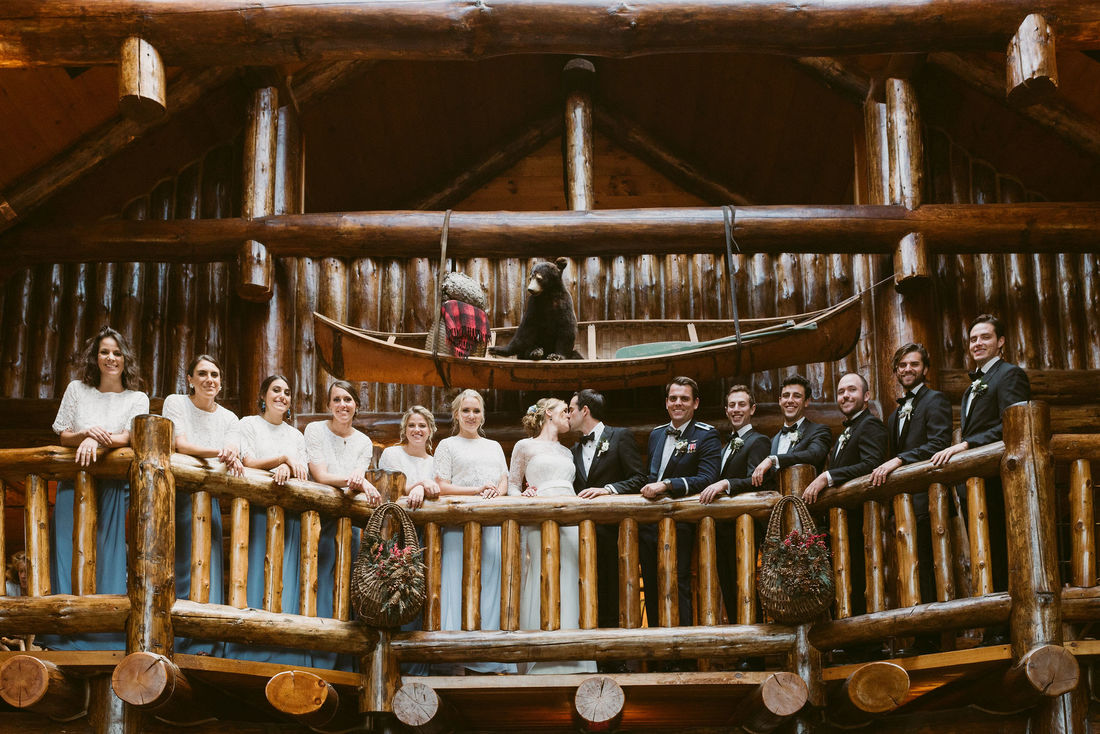 wedding party at Whiteface Lodge
