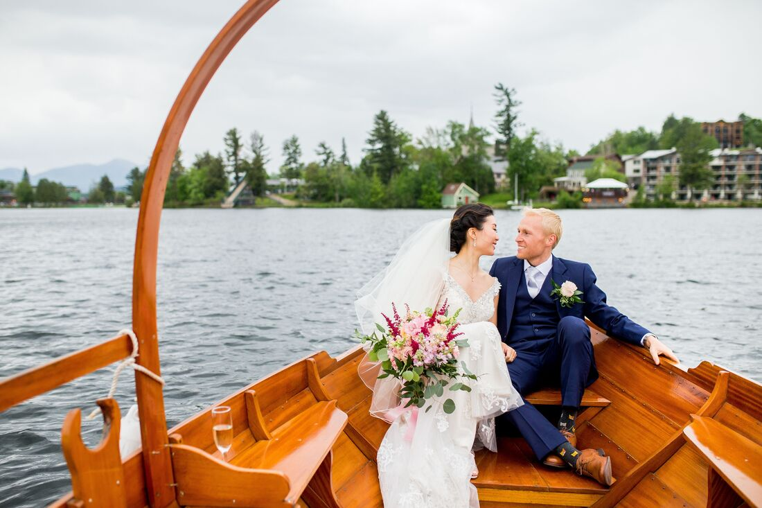 bride and groom in gondola boat
